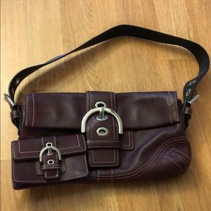 Coach purple/maroon purse with card holder